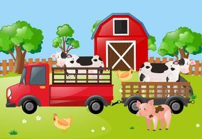 Cena de fazenda com vacas no caminhão vetor