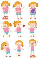 Mulher fazendo atividades para perder peso vetor