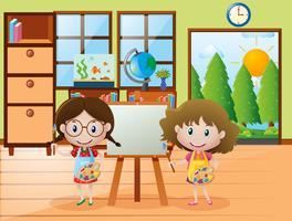 Duas meninas, com, pincel, e, paleta pintura vetor