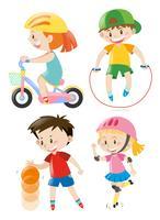 Crianças fazendo diferentes tipos de exercícios