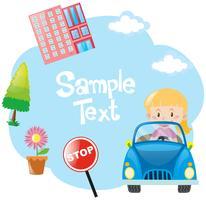 Modelo de papel com garota no carro azul vetor