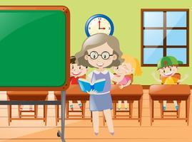 Professor ensinando em sala de aula na escola vetor