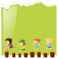 Modelo de plano de fundo com crianças em logs vetor