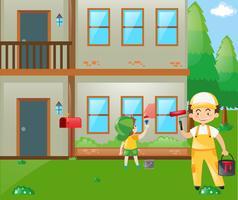Pai e filho pintando a casa vetor