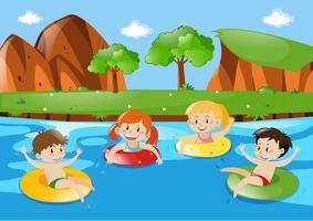 Quatro crianças, natação, em, a, fluxo vetor