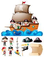 Pirata conjunto com crianças no navio e outros elementos vetor