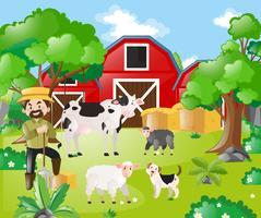 Agricultor e animais de fazenda no campo vetor