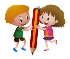 Menino menina, segurando, grande, lápis vetor