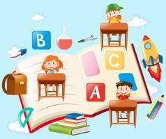 Crianças e objetos da escola no céu azul vetor