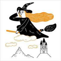 jovem bruxa está cavalgando uma vassoura mágica pela colina do castelo vetor