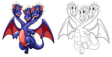 Contorno animal para três cabeças de dragão vetor
