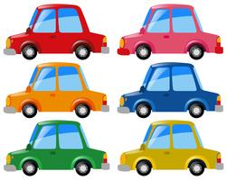 Carros em seis cores diferentes vetor