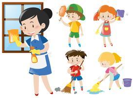 Empregada e filhos fazendo tarefas vetor