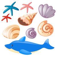 Oceano conjunto com estrela do mar e conchas vetor