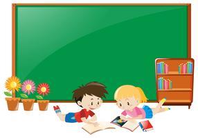 Design de moldura com menino e menina lendo livros