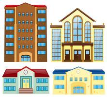 Quatro diferentes design do edifício vetor