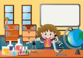 Menina e diferentes ciências epuipments em sala de aula vetor