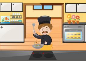 Chef de cozinha na cozinha vetor