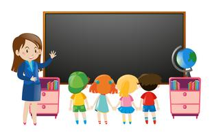 Crianças e professor em sala de aula vetor