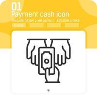 ícone de vetor de mão de pagamento em dinheiro com estilo de linha isolado no fundo branco. elemento de ilustração de gráficos ícone único fino para interface do usuário, interface do usuário, design do site, negócios, logotipo, aplicativos móveis e todos os projetos