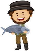 Pescador, segurando, peixe cru vetor