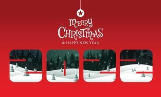 feliz natal, feliz ano novo 2022, caligrafia, paisagem fantasia, ilustração vetorial. vetor