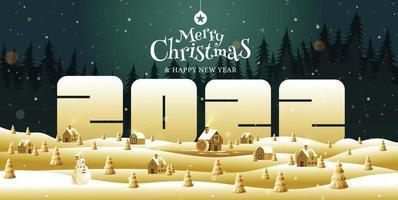feliz natal, feliz ano novo 2022, caligrafia, dourado, fantasia de paisagem, ilustração vetorial. vetor