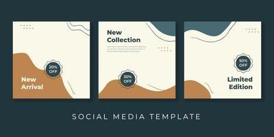 modelos modernos de arte quadrada abstrata. adequado para postagens de mídia social, aplicativos móveis, design de banners e anúncios de internet na web. fundos da moda do vetor. vetor