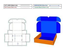 caixa de assinatura do mailer com entalhes de ranhura na aba, remessa de papelão ondulado, modelo de dieline de vetor de caixa de extremidade de rolo 2 e arquivo de renderização vetorial 3D