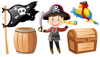Pirata conjunto com pirata e papagaio vetor