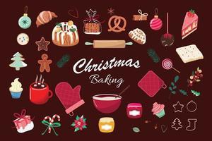 bicarbonato de natal. conjunto de biscoitos, bolos, doces, chocolate quente. pastelaria caseira. coleção com sobremesas sazonais de inverno. cozimento de inverno. ilustração vetorial. vetor