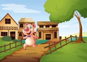 Um porco correndo alegremente vetor