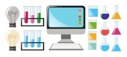 Conjunto de ciência com copos e computador vetor