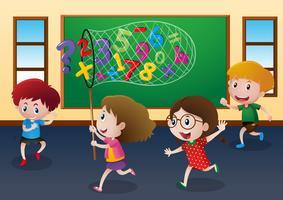 Quatro crianças, pegando, números, em, sala aula vetor