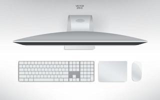vista superior do computador, teclado, mouse e trackpad. mock up template para adicionar seu conteúdo ou conceito de negócio digital. vetor. vetor