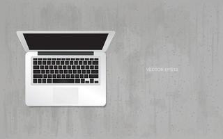 abra o laptop em fundo de textura de concreto de grunge. vetor. vetor