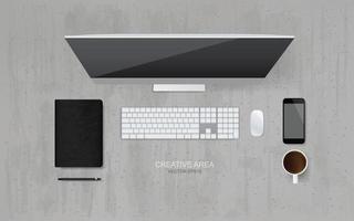 vista superior do computador com o objeto de escritório situado na área de trabalho e fundo de concreto. vetor. vetor