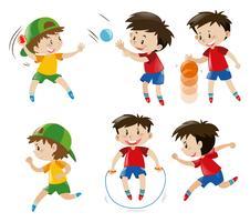 Menino, tocando, com, bola, e, pular corda