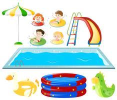 Conjunto com piscina e crianças nadando vetor