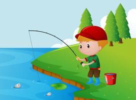 Um menino a pescar sozinho na margem do rio vetor