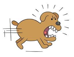 desenho animado perseguindo cachorro zangado, ilustração vetorial vetor