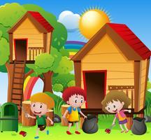 Crianças, colher, lixo, em, pátio recreio vetor