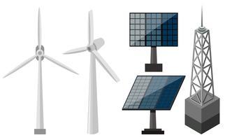 Equipamentos diferentes para produção de eletricidade vetor
