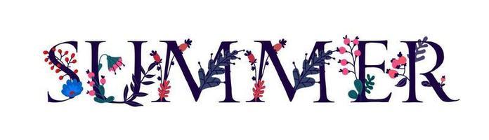 o verão de inscrição em inglês. vetor. cartas. planta e vida da flor. o poder da vida selvagem. flores e botões em torno das letras. o verão chegou. estilo simples. logotipo para convite. vetor
