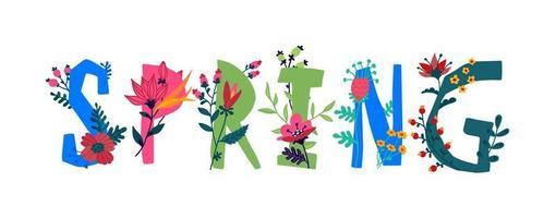 a inscrição na primavera em inglês. vetor. cartas. planta e vida da flor. o poder da vida selvagem. flores e botões em torno das letras. Primavera chegou. estilo simples. logotipo para convite. vetor