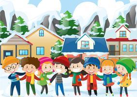 Muitas crianças no inverno vetor
