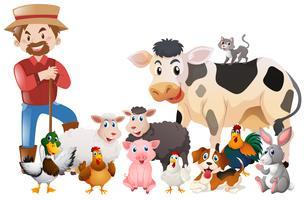 Agricultor e muitos animais vetor