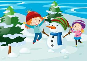 Cena, com, crianças, e, boneco neve vetor