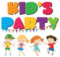 Muitas crianças se divertindo na festa vetor
