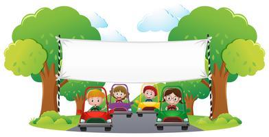 Modelo de banner com carro de corrida de crianças vetor